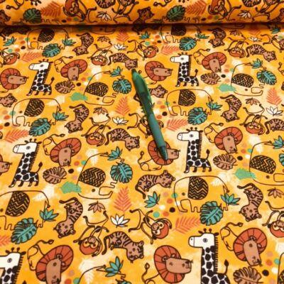 Dzsungel mintás holland pólóanyag