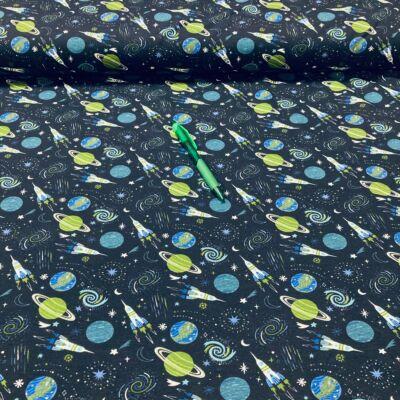 űr mintás holland pólóanyag