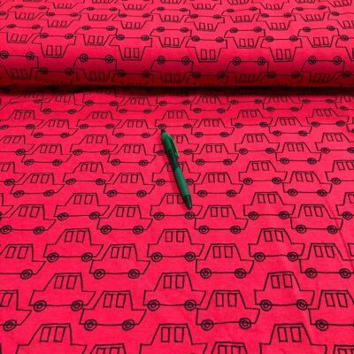 piros alapon fekete kisautó mintás rotációs futter