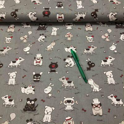 szürke alapon kiskutya mintás pamut karton