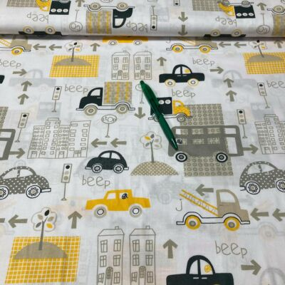 sárga járműves pamut karton