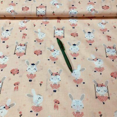barack alapon rózsaszín nyuszis pamut karton