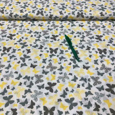 szürke, sárga pillangó mintás pamut karton