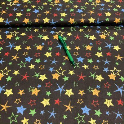 fekete alapon színes csillag mintás pamut karton