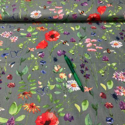 szürke alapon színes virág mintás pamut karton