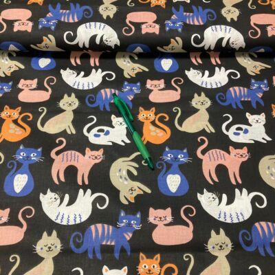 fekete alapon színes cica mintás pamut karton
