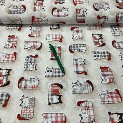 piros-fekete cica mintás loneta vászon