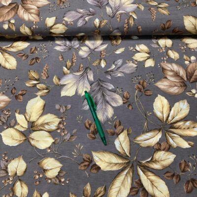 barnás/szürkés levél mintás loneta vászon