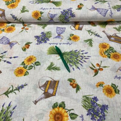 levendula kiskannával mintás loneta vászon