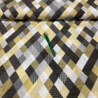 sárga-fekete kockás loneta vászon