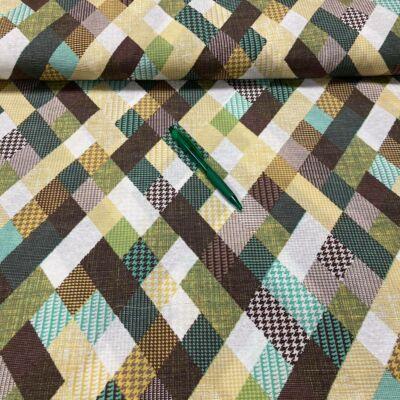 barna,zöld, sárga kockás loneta vászon