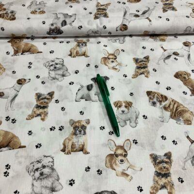 fehér alapon kutya mintás pamut karton