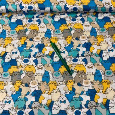 kék-sárga cica mintás pamut karton