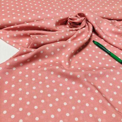 rózsaszín alapon fehér pötty mintás flokon