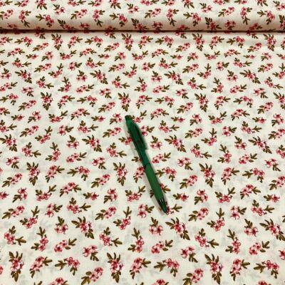 krém alapon apró virág mintás pamut karton