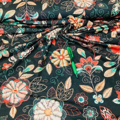 fekete alapon türkizes virág mintás viszkóz pólóanyag