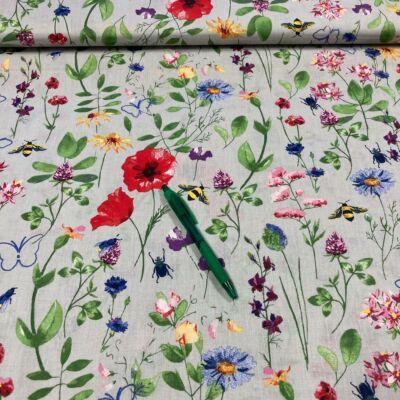 szürke alapon mezei virág mintás pamut karton