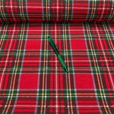 piros-zöld kockás karácsonyi loneta vászon