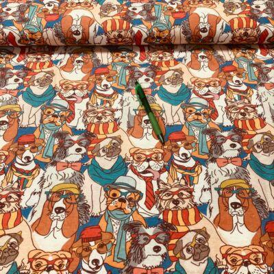 szemüveges kutyusok mintás loneta vászon