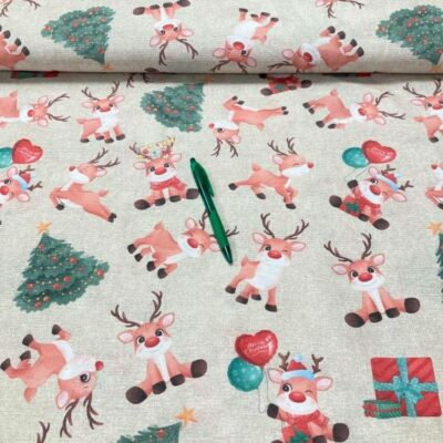 cuki rénszarvas mintás karácsonyi loneta vászon