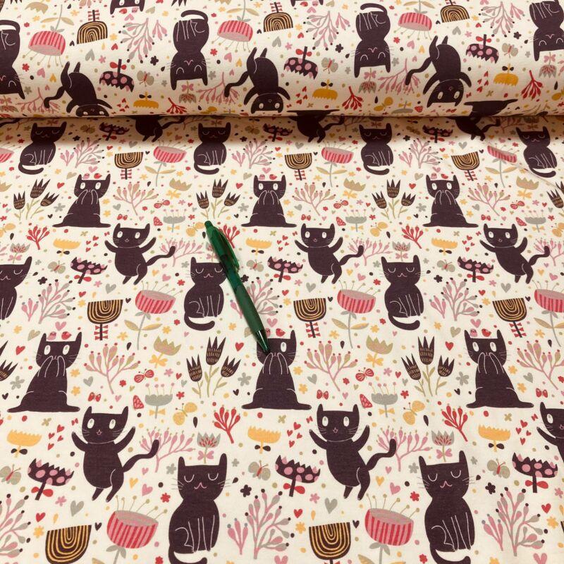 fekete cica mintás futter szabadidő anyag