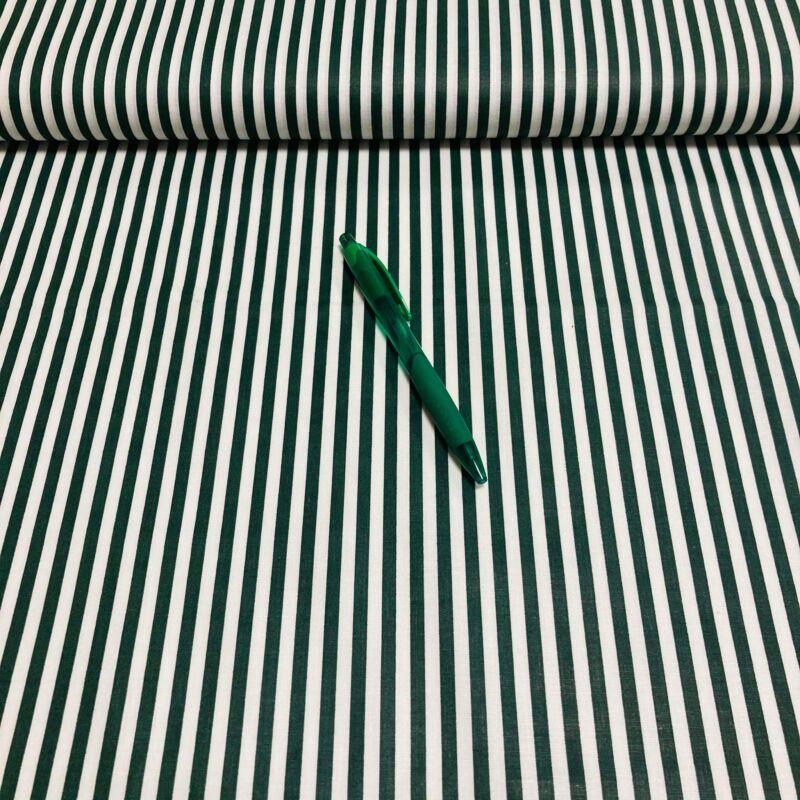 Sötétzöld fehér csíkos pamut karton