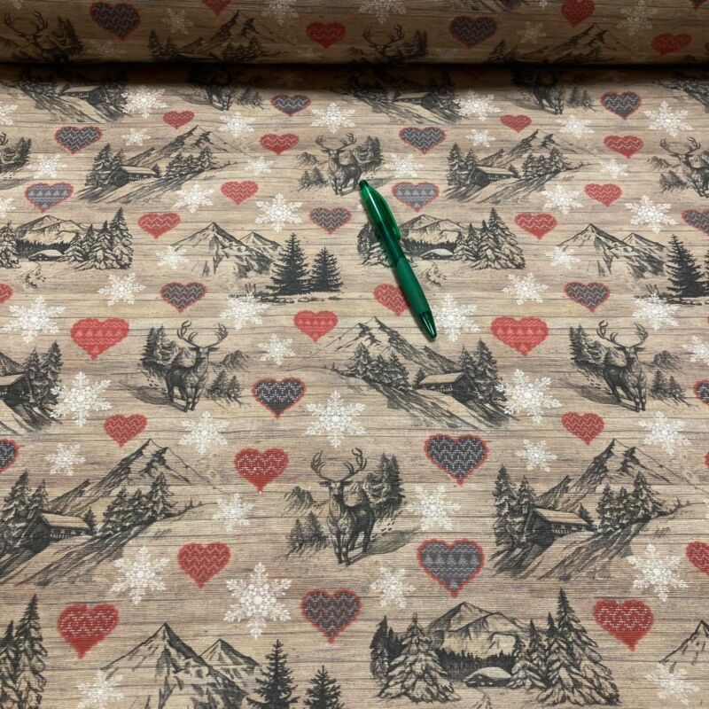 szarvas mintás loneta vászon