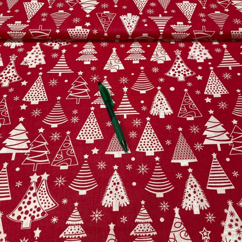 piros alapon fehér fenyőfa mintás pamut karton