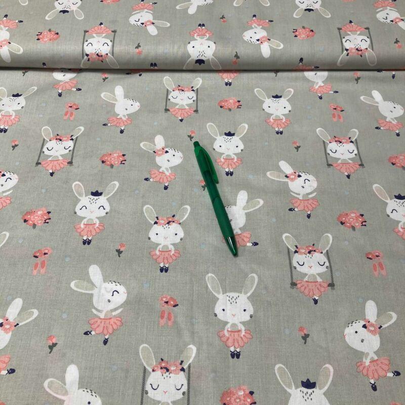 szürke alapon rózsaszín nyuszis pamut karton