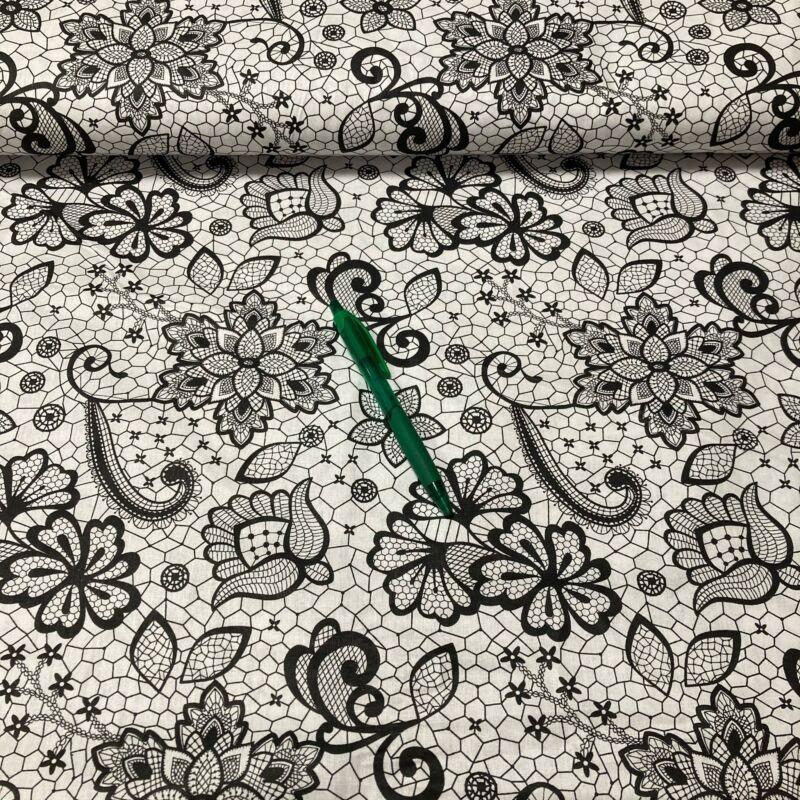 fekete-fehér virág mintás pamut vászon