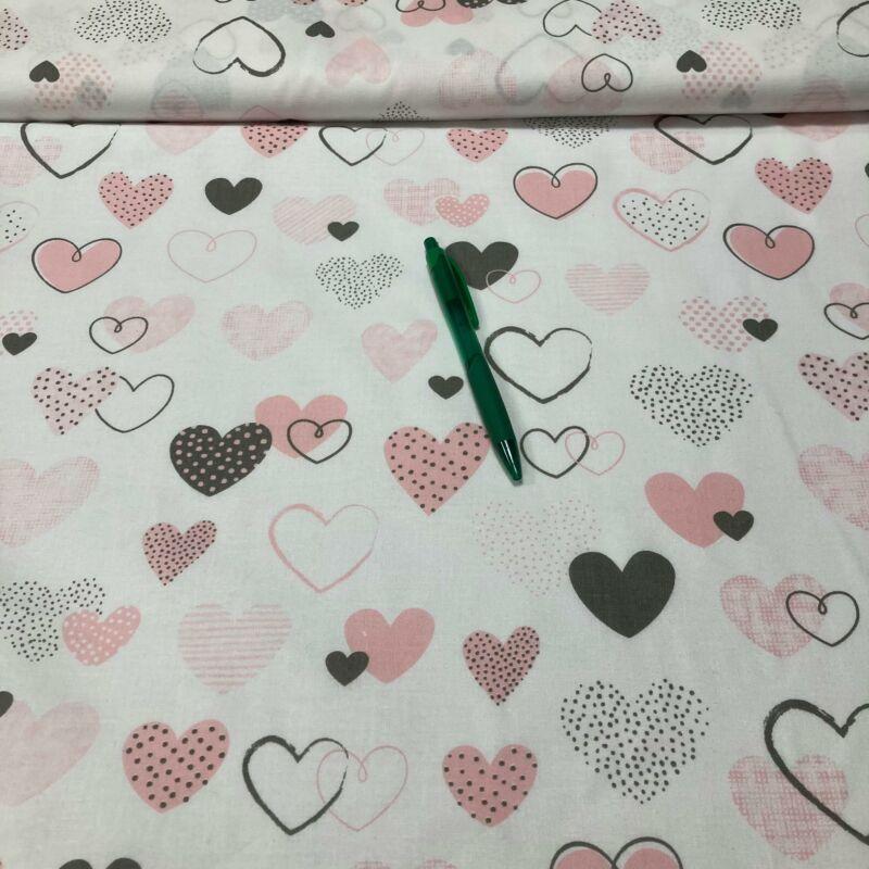 rózsaszín szívecske mintás pamut karton