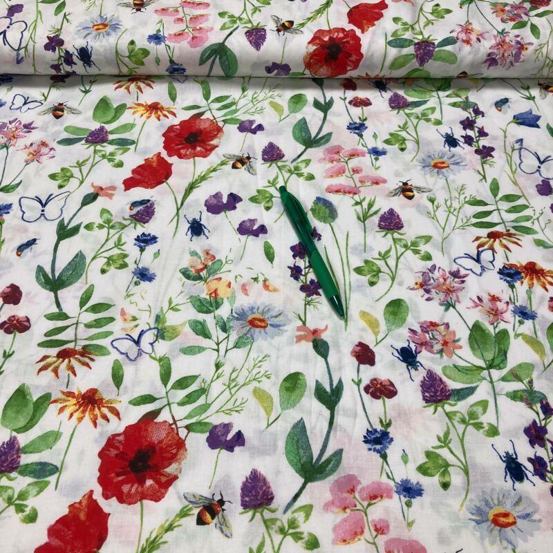 fehér alapon színes virág mintás pamut vászon