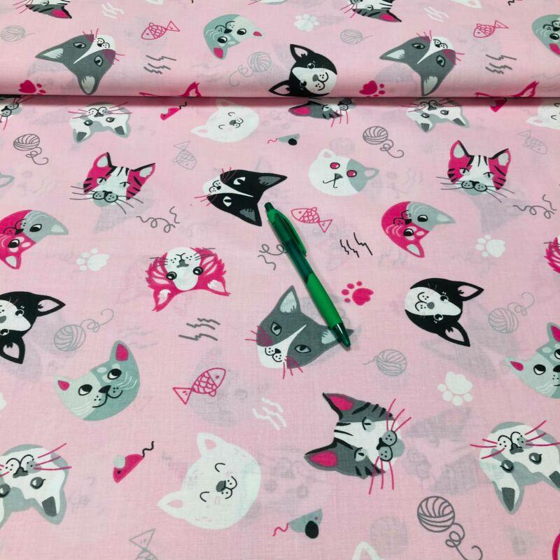 rózsaszín alapon cica fejek mintás pamut karton