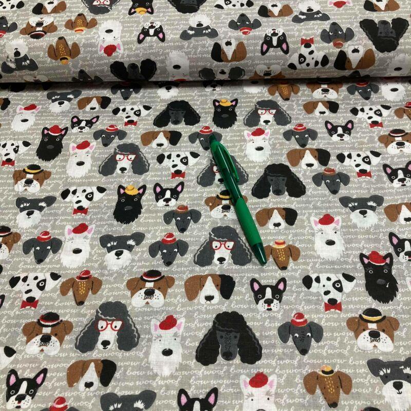 szürke alapon kutya fejek mintás pamut karton