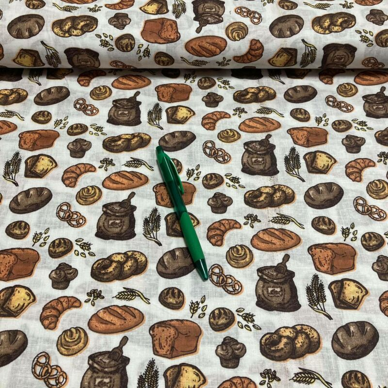 fehér alapon péksütemények mintás pamut karton