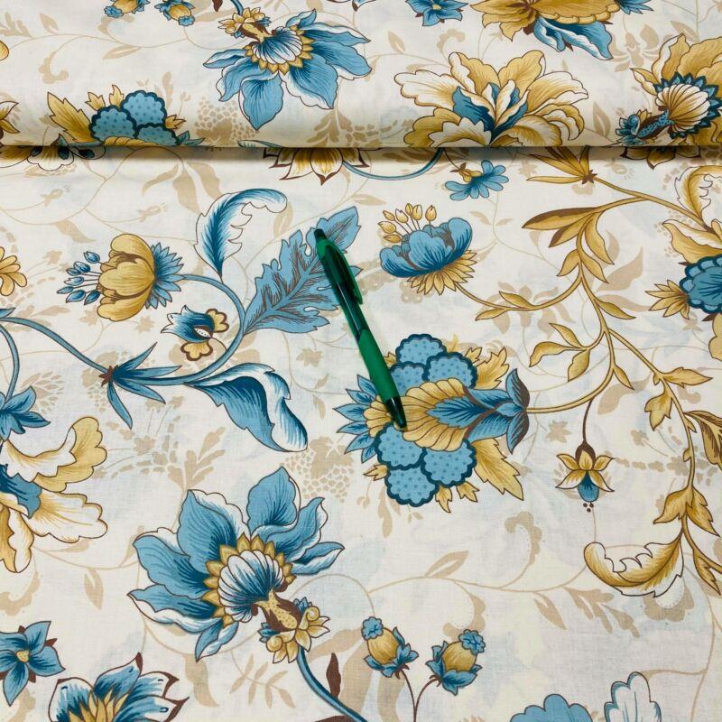 kék virág mintás pamut karton