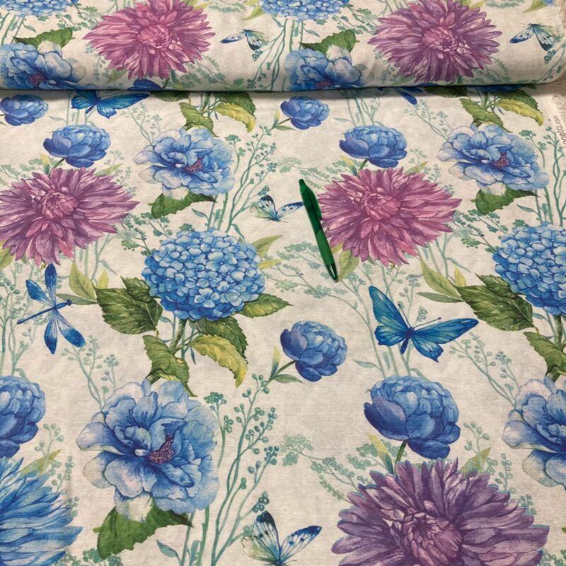 lila kék virág mintás loneta vászon