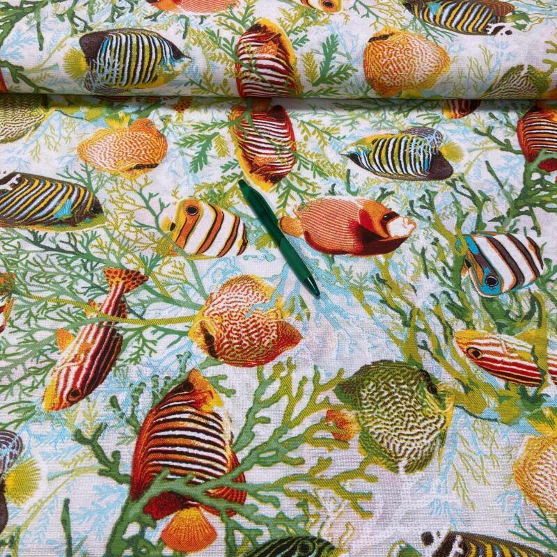 színes diszkoszhalak mintás loneta vászon