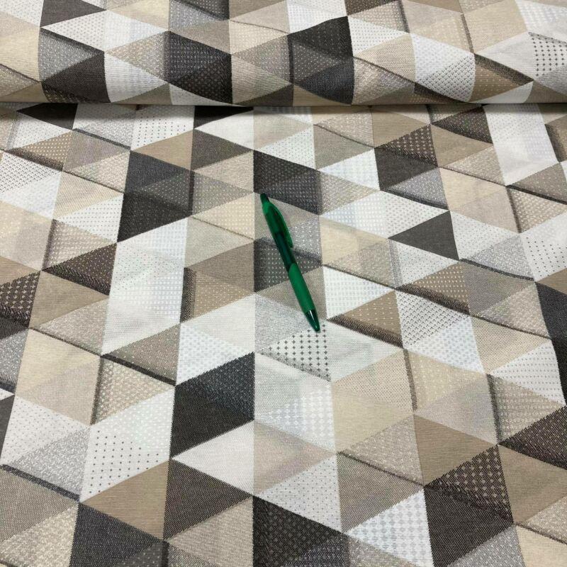 barna árnyalatú háromszögek mintás loneta vászon
