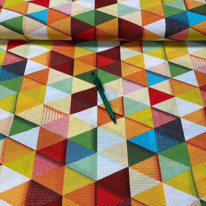 színes háromszögek mintás loneta vászon