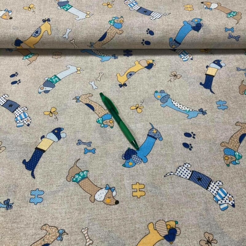 kék tacskó mintás loneta vászon