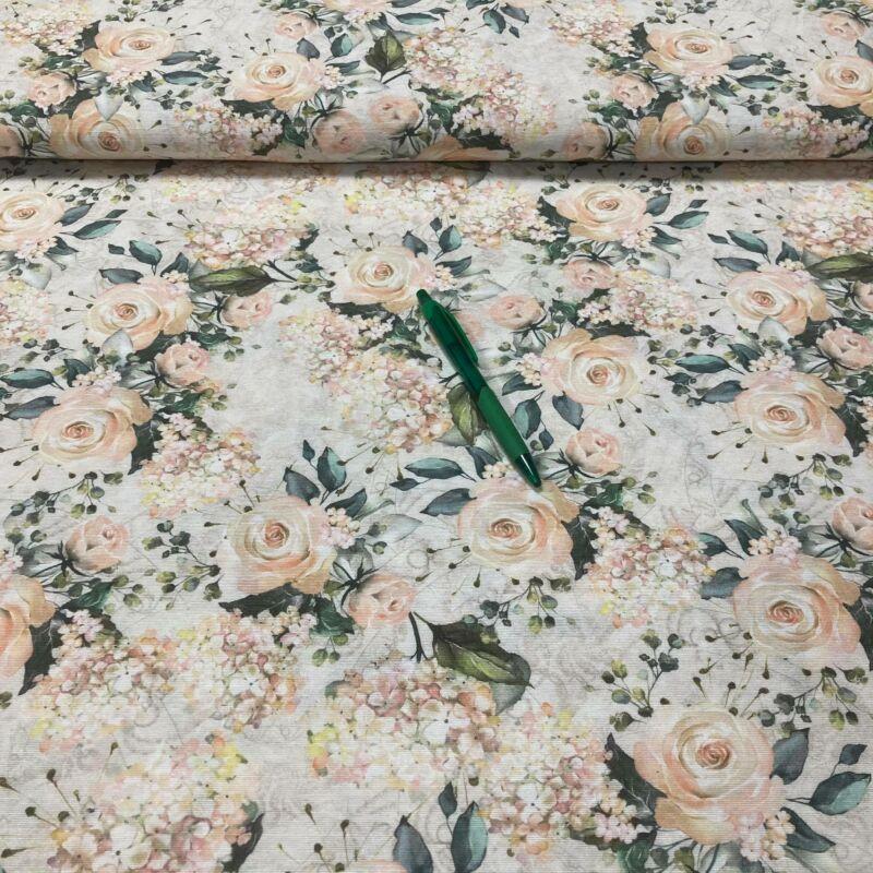 pasztell rózsa mintás loneta vászon