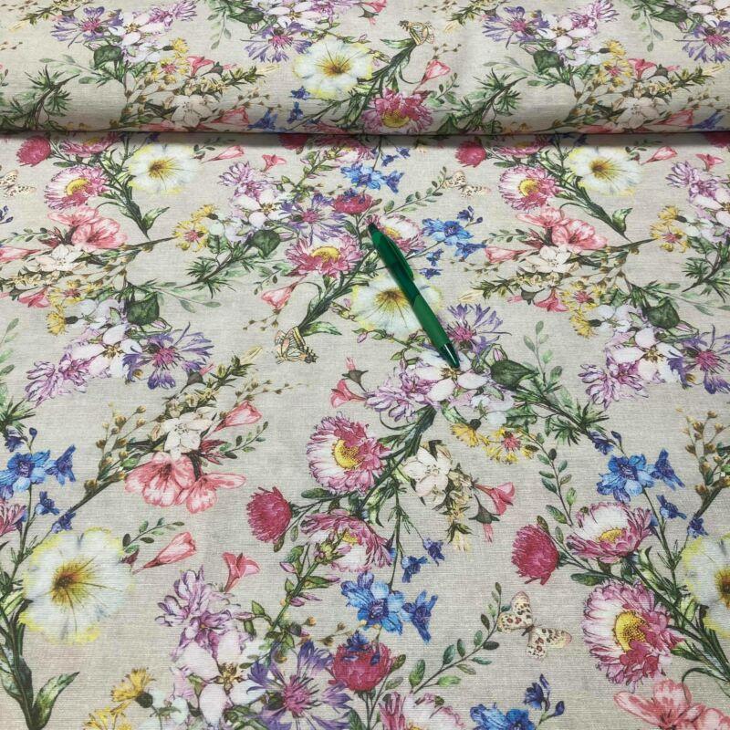 színes virág mintás loneta vászon
