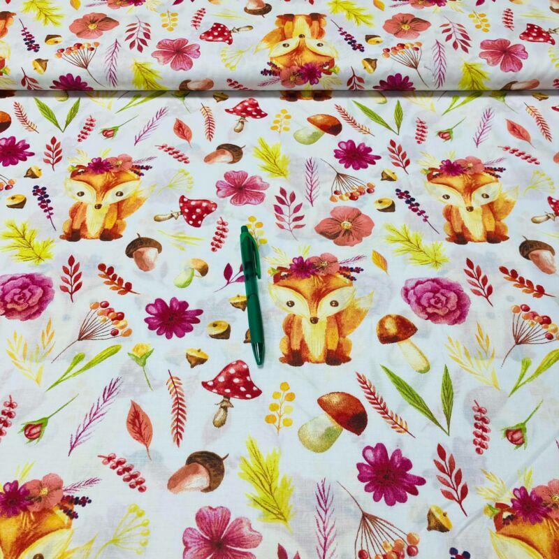 róka rózsaszín virággal mintás pamut karton