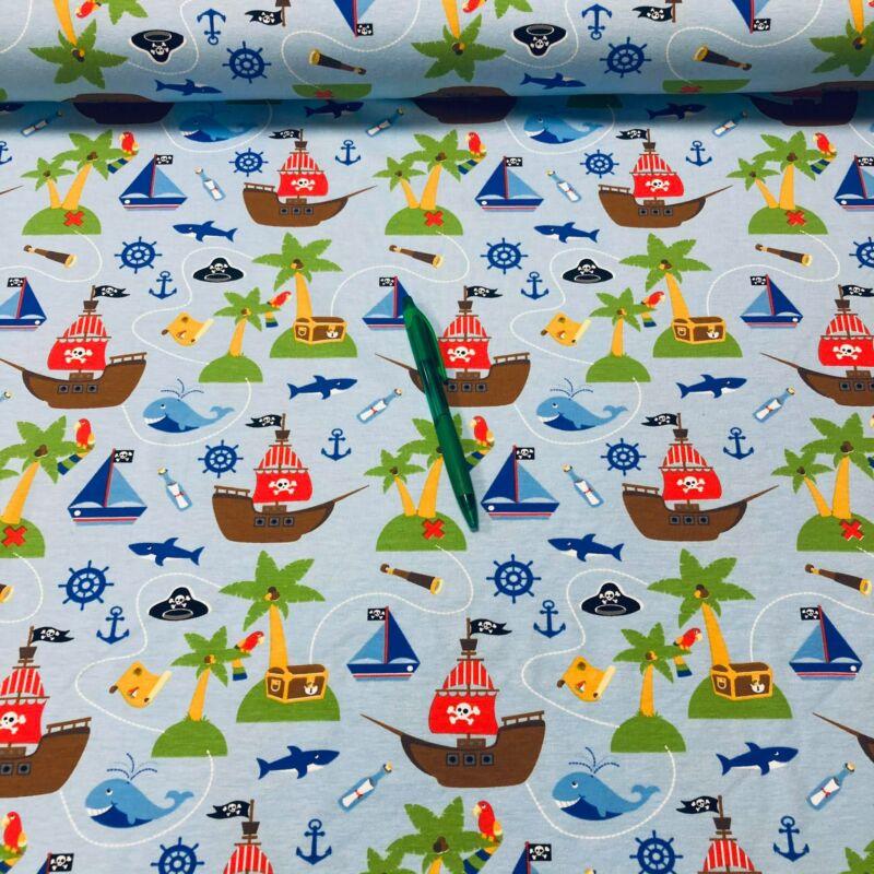kalózhajó mintás holland pólóanyag