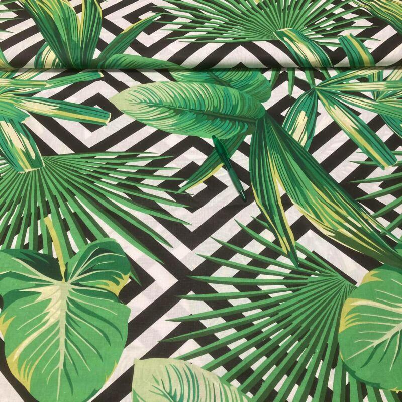 fekete-fehér alapon zöld levél mintás pamut karton