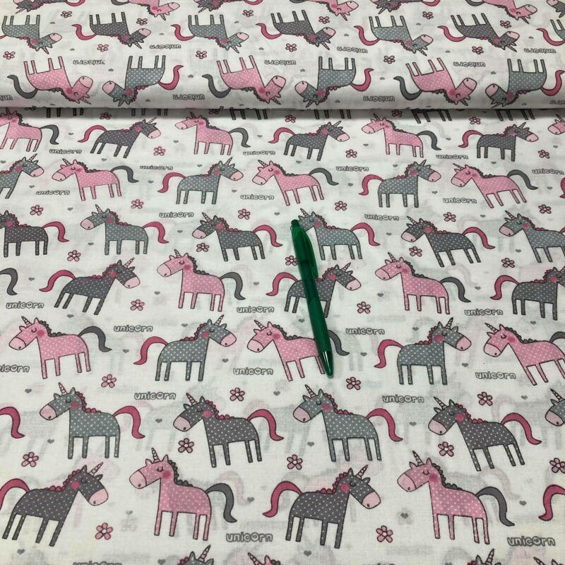 rózsaszín unikornis mintás pamut vászon