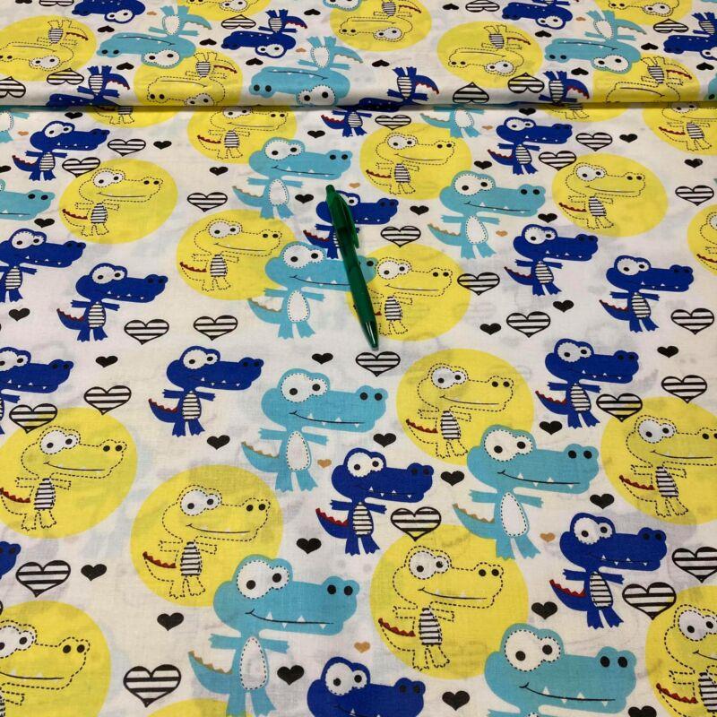 kék-sárga krokodil mintás pamut karton