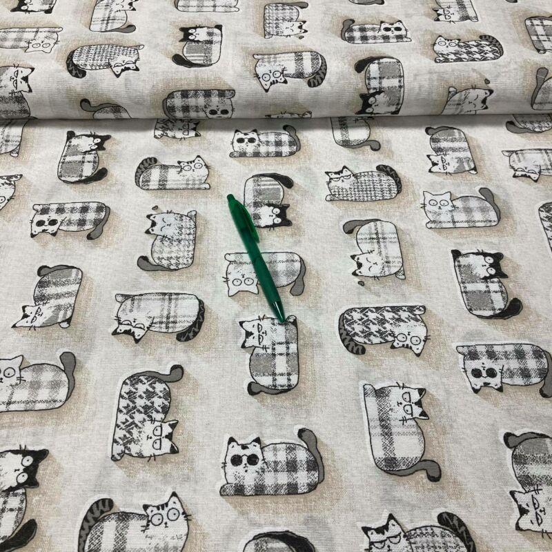 fekete-fehér cica mintás loneta vászon
