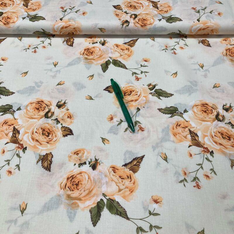 narancssárga rózsa mintás pamut karton